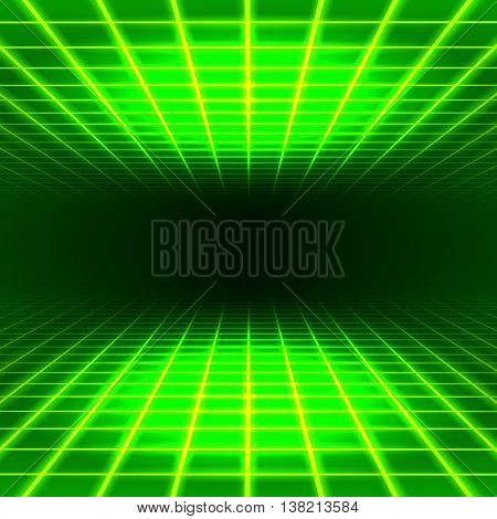 Green dimensional grid space tunnel floor and ceiling