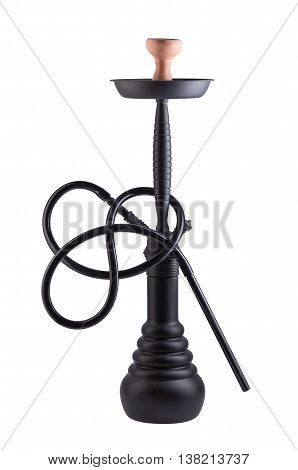 Modern black hookah isolated on white background. Eastern smokable water pipe smoking on white background. Black hookah with black rubber tube and black flask isolated on white background.