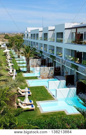 The swimming pools at luxury hotel Crete Greece