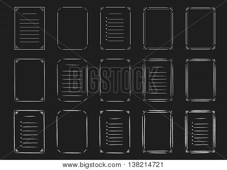 Set of line and hand drawn frames and lists on the chalkboard. Vector illustration