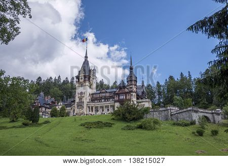 Peles Castle in Sinaia in Romania in Prahova County