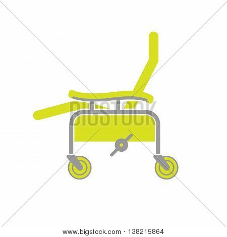 Flat Icon of Surgical Chair Isolated on White Background. Surgery Chair. Medical Equipment for Seating and Transport. Vector Illustration