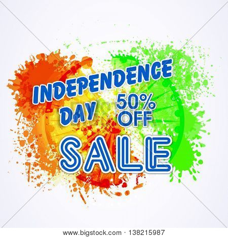 Independence Day Sale, Poster, Banner, Flyer, 50% Off, Abstract Sale Typographical Background with colour splash and Ashoka Wheel, for Indian National Festival celebration.