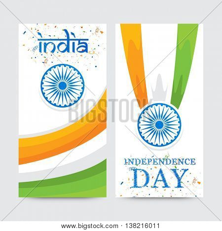 Creative website banner set with Tricolor waves and Ashoka Wheel for Happy Indian Independence Day celebration.