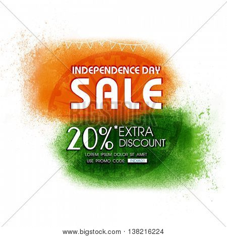 Independence Day Sale, Sale Poster, Sale Banner, Sale Flyer, 20% Extra Discount, Creative Sale Background with Ashoka Wheel and Saffron, Green colour splash for Indian National Festival celebration.