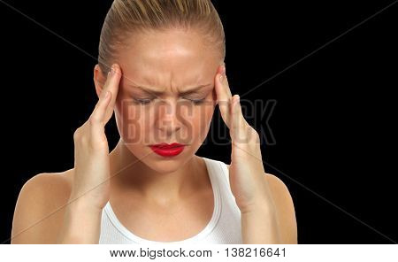 Woman Holding Head with pain