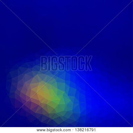 Abstract colorful low poly geometric vector on blue background. Triangular polygons for cell phone background.