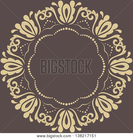 Oriental vector round pattern with arabesques and floral elements. Traditional classic ornament. Brown and golden pattern