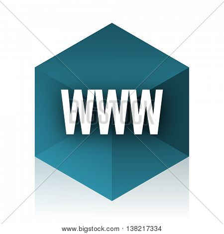 www blue cube icon, modern design web element