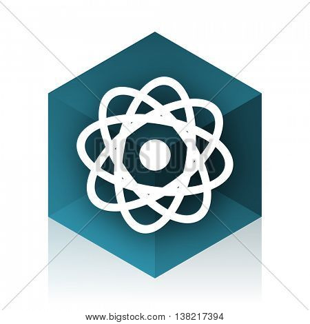 atom blue cube icon, modern design web element