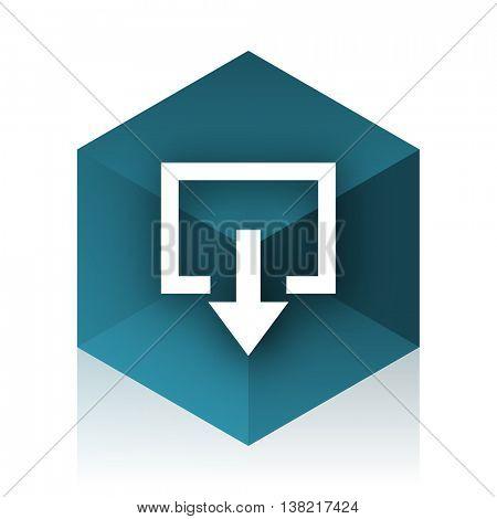 exit blue cube icon, modern design web element