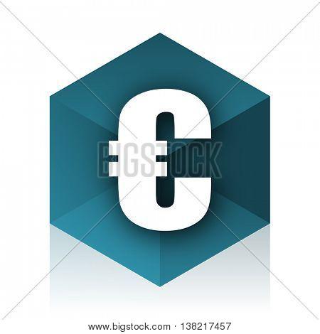euro blue cube icon, modern design web element