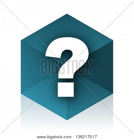 question mark blue cube icon, modern design web element