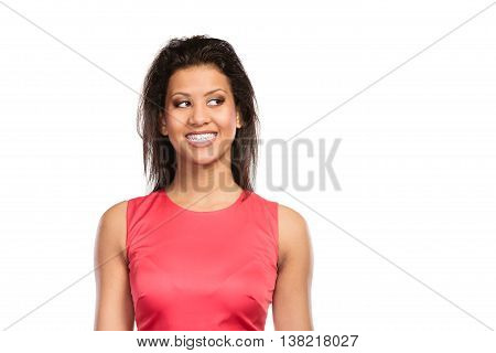 Portrait of happy smiling stunning mixed race african american woman. Gorgeous young girl isolated on white.