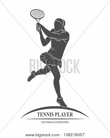 Icon tennis player with a racket. Vector illustration.