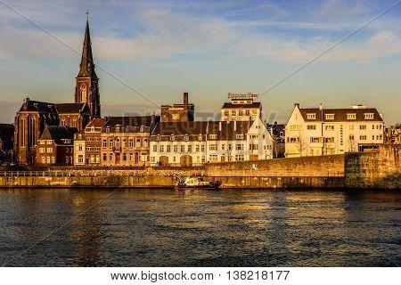 Riverside scene in Maastricht. Limburg, the Netherlands
