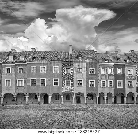 Black And White Photo Of Old Market Square In Poznan