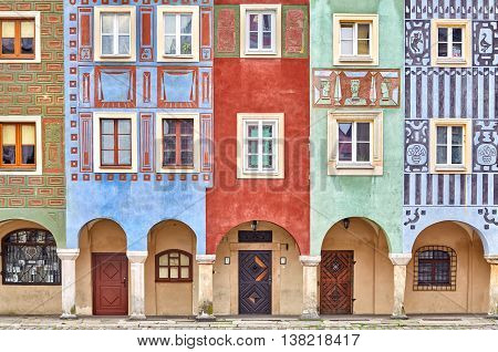 Colorful Houses On Poznan Old Market Square.