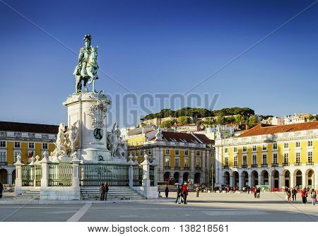 praca do comercio main square in central old town lisbon portugal