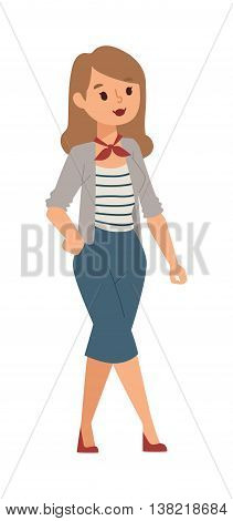 Illustration teenagers staying girl. Young girl vector character and cute modern adult girl. Beautiful happy woman and conversation smiling pretty girl. Adult teen.