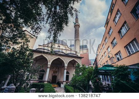 Sarajevo Bosnia and Herzegovina - August 23 2015. Main facade of Ferhadija Mosque located at Bascarsija area in Sarajevo city