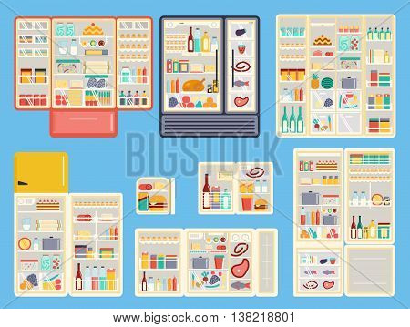 Illustration of open refrigerator products with food, drinks and kitchenware. Appliance food kitchen fruit freezer open refrigerator products. Set of open refrigerator products full container vector.