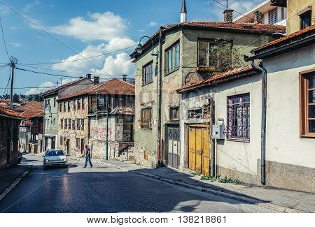Sarajevo Bosnia and Herzegovina - August 23 2015. View of street on the Old Town area of Sarajevo