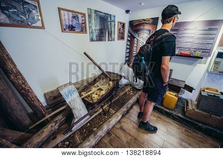 Sarajevo Bosnia and Herzegovina - August 24 2015. Tourist visits museum of underground tunnel constructed by Bosnian Army during the Siege of Sarajevo