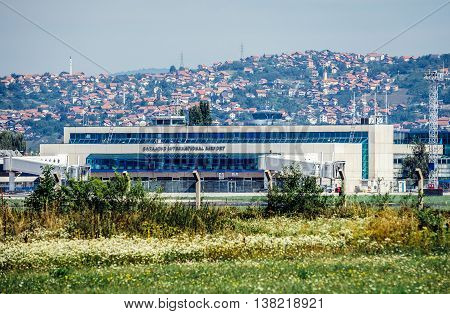 Sarajevo Bosnia and Herzegovina - August 24 2015. View of Butmir International Airport in Sarajevo