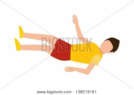 Handsome casual young man laying on the floor and looking away smiling isolated on white. Resting indoors office lying man young character. Businessman down leisure attractive vector relax lying man.