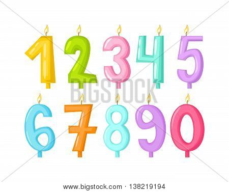 Vector numbers candles in flat style. Candles light flame party birthday candlelight wax decoration.