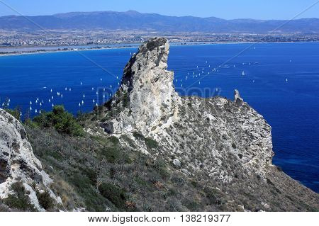 View on the cliff Devil's Saddle - La Sella del Diavolo - in Sardinia, Italy.