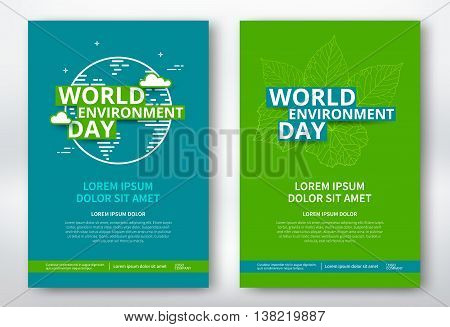 World environment day poster design template. World environment day flyer with leaves and earth planet. Vector