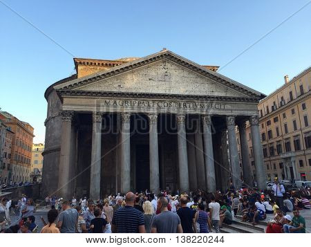 ROME - JULY 12: Tourists outside the Pantheon on the evening of July 12, 2016 in Rome, Italy.