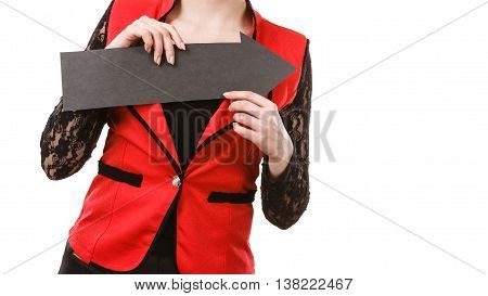 Make choice concept. Elegant woman in red with big black arrow sin symbol pointing. Young girl present show right direction to decide and solve problems.
