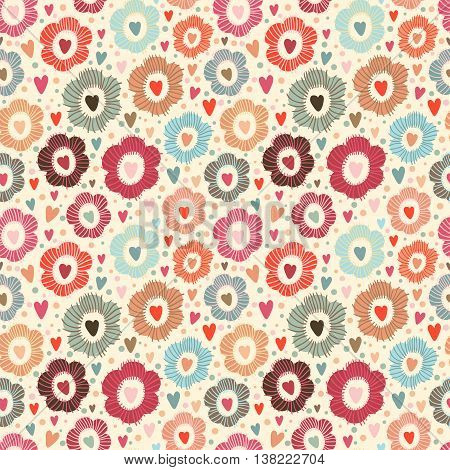 Vector seamless floral pattern with hearths and flowers in different color