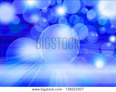 Blue Lights Festive background. Abstract holiday twinkled bright background with natural bokeh defocused white lights. Party abstract background.
