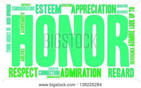 Honor word cloud on a white background.