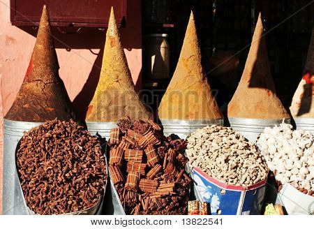 Oriental spices in the market in Morocco