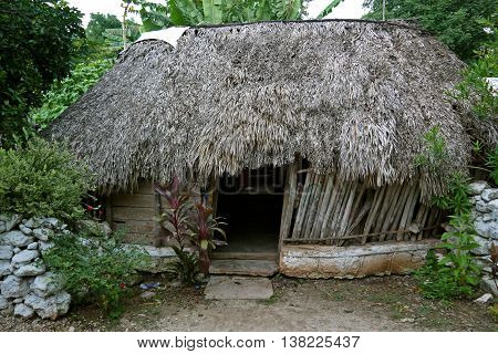 MEXICO - 5 AUGUST 2014: Typical mayan home of Yucatan.
