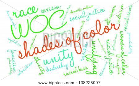 Shades Of Color word cloud on a white background.