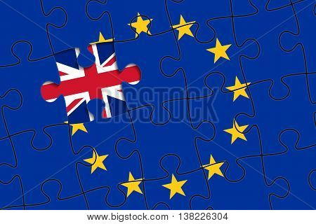 European Union flag in form of assembled jigsaw puzzle; one piece is missing; flag of United Kingdom instead. British withdrawal from the EU. Brexit concept