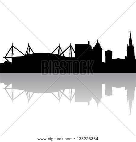 Black silhouette skyline of Cardiff. UK. Vector illustration