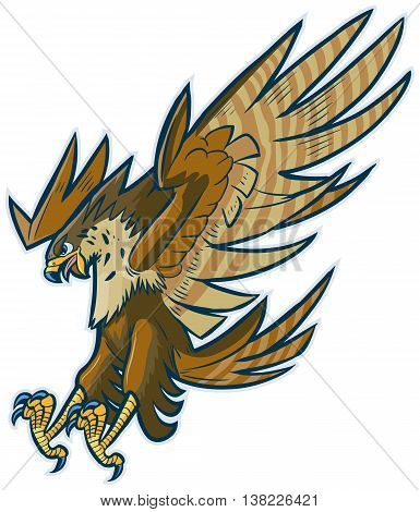 Vector cartoon clip art illustration of a hawk falcon or eagle mascot diving or swooping down with spread wings and talons and beak open.
