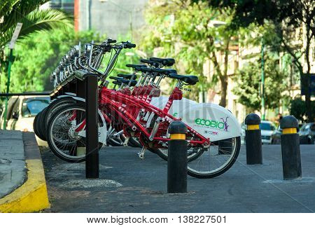 CIUDAD DE MEXICO / MEXICO - FEBRUARY 23 2016: Row of city bikes for rent in Mexico City