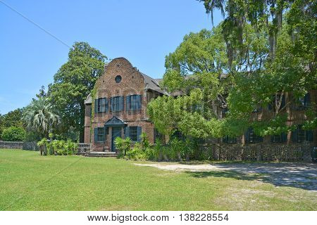 CHARLESTON SC USA JUNE 23 2016: Main house Middleton Place is a plantation in Dorchester County, directly across the Ashley River from North Charleston, in the U.S. state of South Carolina.