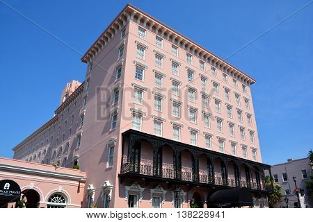 CHARLESTON SOUTH CAROLINA USA JUNE 27 2016: The Mills House Wyndham Grand Hotel, Southern Style Charleston Hotel in the Historic District