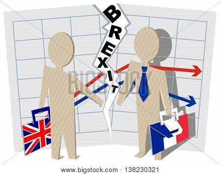 Britain and France Brexit. Severance of relations in business. Illustration in vector format