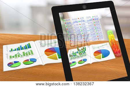 Augmented reality business magazine seen through a tablet with enhanced charts 3D illustration