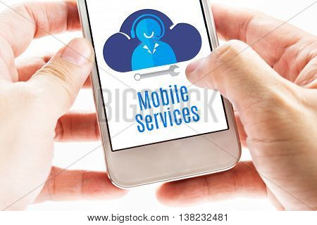 Close Up Two Hand Holding Smart Phone With Mobile Service Word And Icons, Digital Concept